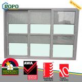 Porte en verre de glissement du plastique 3-Track d'UPVC/PVC avec des abat-jour