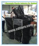 El bolso grande del negro FIBC con Cara-Cose bucles y el canalón superior