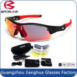 Óculos de sol polarizados lentes Exchangeable promovidos dos esportes UV400 dos vidros do Mens do projeto 5 com caso carreg
