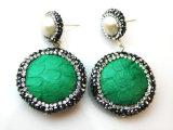 Nuovi monili degli orecchini dell'orecchino della perla del cuoio dell'ematite di disegno per la signora