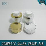 tarro vacío poner crema de cristal de los cosméticos blancos de la perla 50g con la tapa de acrílico 50ml