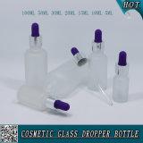 Bereifte kosmetische Glastropfenzähler-Flasche mit buntem Gummi