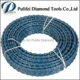 Dos grânulos de mármore do diamante do corte por blocos da pedreira do granito o fio plástico viu