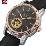 Reloj grande del acero inoxidable de la dial de las mujeres con la hebilla de la mariposa