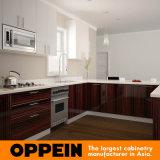 Armadio da cucina a forma di U dell'alta impiallacciatura di legno di lucentezza di Oppein (OP16-LOT42)