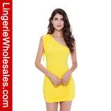 Alineada atractiva Backless amarilla para las mujeres