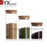يجعل في الصين [بوروسليكت] [هندمد] آنية زجاجيّة حرارة - مرطبان مقاومة زجاجيّة مع غطاء خشبيّة زجاجيّة تخزين مرطبان تجميع [ستورج تنك]