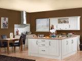 Gabinete de cozinha personalizado da madeira contínua de projeto moderno