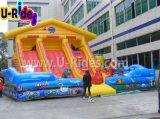 Kuh-Bauernhof-aufblasbarer kombinierter Prahler-Spielplatz für das Kindspringen