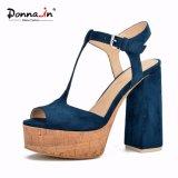 (Donna-в) T-Планка Microfiber способа покрыла толщиные сандалии платформы пробочки женщин высокой пятки