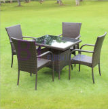 PE 등나무 테이블과 의자의 옥외 발코니 안마당 다방 여가 3 5 세트