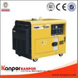 Kp9500 Kanpor 6.8kw 7.5kw 50Hz 60Hzの無声防音の空気涼しい携帯用ディーゼル無声発電機