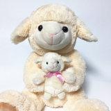 Pluche het Beige Stuk speelgoed van de Zitting van de Schapen van Mum en van de Baby Leuke Zachte