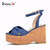 (Donna-in) Form-Denim-Absatz-Frauen-Korken-Keil-Sandelholze