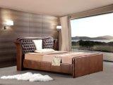 Muebles de dormitorio Cama de cuero de madera maciza para el hogar