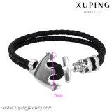 Bracelete fresco do couro do preto da jóia do aço inoxidável da forma Bracelet-31