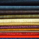 Горячая продавая кожа зерна крокодила синтетическая для ботинок или мешков (HS-M002)