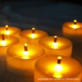 Luces ópticas amarillas del té de fibra LED de las baterías de la llama que oscilan