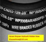 Einzelner Stahldraht-umsponnener Hydrauliköl-Gummischlauch-flexibler Schlauch