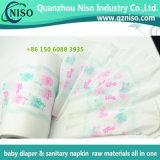 Película Unbreathable impressa do PE para o tecido adulto Backsheet do tecido do bebê