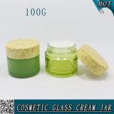 100g leeren buntes kosmetisches Sahneglasglas mit hölzerner Schutzkappe