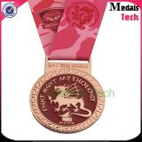 Promothonのカスタムリボンが付いている銅によってめっきされる柔らかいエナメルの金属のスポーツメダル