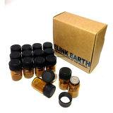 1-5/8 D-RAM 3ml bernsteinfarbige Glasphiolen mit Öffnungs-Reduzierstücken und schwarzen Schutzkappen