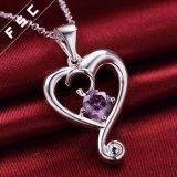 Het zilver plateerde de Romantische Halsband van de Tegenhanger van het Zirkoon van het Hart Purpere Uitstekende