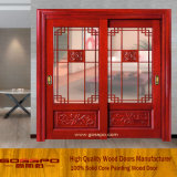 Porta deslizante interior contínua de vidro Tempered de frame de madeira (GSP3-020)