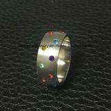 De in het groot Ring van de Juwelen van de Manier van het Roestvrij staal van de Steen van Kleuren (CZR2541)