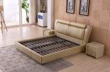 Кровать кожи мебели спальни самомоднейшей конструкции (9561)