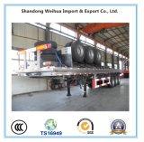 3 Semi Aanhangwagen van het Bed van assen de Vlakke voor 40FT Vervoer van de Container