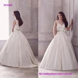 V платье венчания мантии шарика Neckline безрукавный с Waistband