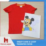 좋은 색깔, 100%년 면 t-셔츠를 위한 유연한 어두운 t-셔츠 잉크 제트 PU 전사지