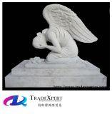 De witte Graniet Gesneden het Doen leunen Grafsteen van de Engel, Grafsteen