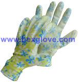 Покрытие нитрила, прозрачное, вкладыш полиэфира 13 датчиков, флора делает по образцу перчатки безопасности