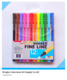 12 PCS Classic Striped Fine Liner Pen für Kids und Students