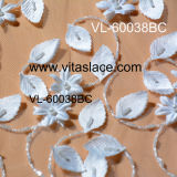 아이보리 3D Flower Rayon Lace Fabric Vl-60070bc