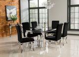 熱いイタリアの食堂の緩和されたガラスのステンレス鋼の現代家具