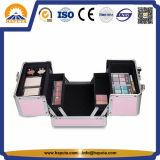 Розовый алюминиевый случай поезда хранения косметик состава (HB-2010)