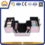 Rosafarbener Aluminiumverfassungs-Kosmetik-Speicher-Serien-Kasten (HB-2010)