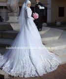 イスラム教の花嫁の婚礼衣裳の長い袖のレースのテュルのカスタムウェディングドレスG1786