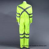 Coverall Workwear безопасности длинней втулки поли Hi-Viz отражательный с отражательной лентой