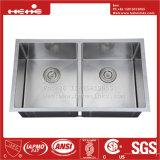 Radius d'acier inoxydable sous le bassin de cuisine fabriqué à la main de cuvette de double d'égale de support