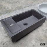 Prix extérieur solide en pierre de lavabo de salle de bains de résine (161025)