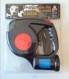 Correo retractable del perro con la luz que contellea del LED y el sostenedor del bolso de la basura