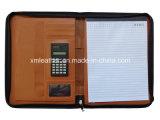 Unità di elaborazione Leather Pocket Folder del Brown per personale con maggiore anzianità di servizio