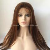 """28 """" langes Silk gerades Remy Haar-volle Spitze-Perücken # dunkelrotes #99j"""