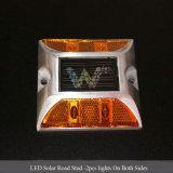 LED jaune clignotant design carré réflecteur de route solaire en aluminium