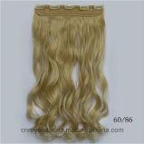 Le clip sur la prolonge de cheveu ont le clip de cheveu synthétique de cinq clips